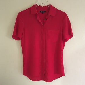 Madewell Silk Red Button Down Blouse/Top